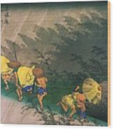 Travellers Surprised By Rain Wood Print by Pg Reproductions