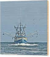 Trawler Homeward Bound Wood Print