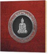 Treasure Trove - Silver Buddha On Red Velvet Wood Print