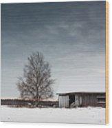 Tree And A Barn Wood Print