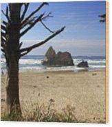 Tree And Ocean Wood Print