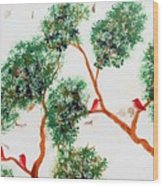 Tree And Red Birds 2 Wood Print