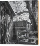 Tree And The Barn Wood Print