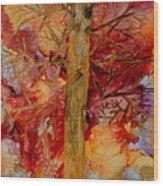 Tree At Sunset Wood Print