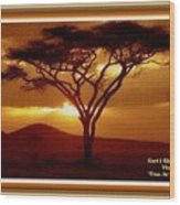 Tree At Sunset. L A With Decorative Ornate Printed Frame. Wood Print