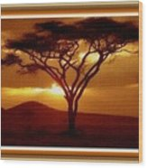 Tree At Sunset. L B With Decorative Ornate Printed Frame. Wood Print