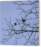 Tree Birds And Sky Wood Print by Richard Mitchell
