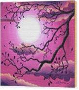 Tree Branch In Pink Moonlight Wood Print