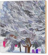 Tree Branches Covered By Snow  Wood Print