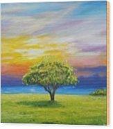 Tree By The Beach Wood Print