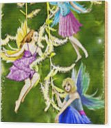 Tree Fairies On The Weeping Willow Wood Print