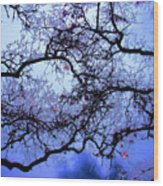 Tree Fantasy In Blue Wood Print