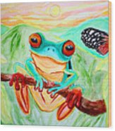 Tree Frog And Butterfly Wood Print by Nick Gustafson