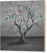 Tree Of Butterflies  Wood Print