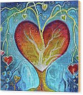 Tree Of Hearts Wood Print