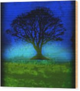 Tree Of Life - Blue Skies Wood Print by Robert R Splashy Art