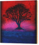 Tree Of Life - Red Sky Wood Print