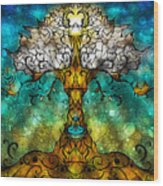 Tree Of Life Wood Print by Mandie Manzano