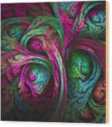 Tree Of Life-pink And Blue Wood Print