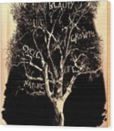 Tree Of Life Rose Tint Wood Print