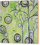 Tree Of Life Spring Abstract Tree Painting  Wood Print