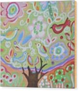 Tree Of Life With Dragonfly Wood Print