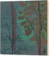 Tree Shadows At Midnight Wood Print