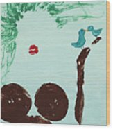 Tree With Blue Birds Wood Print