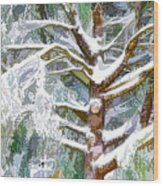 Tree With White Fluffy Snow Wood Print