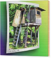 Treehouse Fort Wood Print