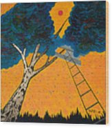 Treehouse Wood Print by Randall Weidner