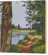 Trees Along The River Wood Print