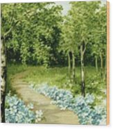 Trees And Flowers Country Scene Wood Print