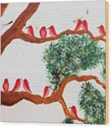 Trees And Red Birds 1 Wood Print