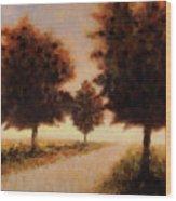 Trees At Sunset Wood Print
