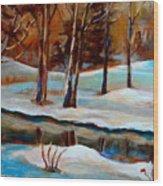 Trees At The Rivers Edge Wood Print