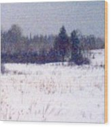 Trees By The Snow Field Ae Wood Print