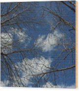 Trees In The Spring With Clouds Wood Print