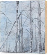 Trees In Winter Snow Wood Print