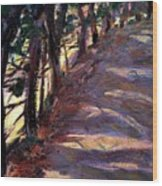 Trees Line The Road Wood Print