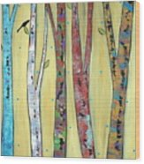 Trees On Yellow Wood Print by Karla Gerard