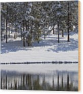 Trees Reflecting In Duck Pond In Colorado Snow Wood Print