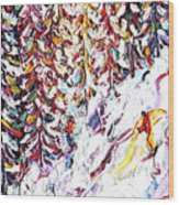 Trees To Celerina - St Moritz Wood Print
