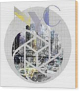 Trendy Design New York City Geometric Mix No 4 Wood Print by Melanie Viola