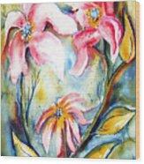 Tres Fleurs In Heat Wood Print