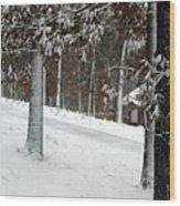 Tress Of Snow Wood Print