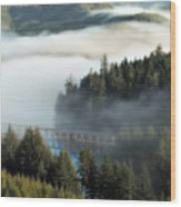 Trestle In Fog Wood Print