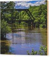 Trestle Over River Wood Print