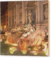 Trevi Fountain At Night Wood Print