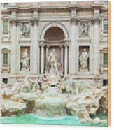 Trevi Fountain, Fontana Di Trevi, After The Restoration Of 2015  Wood Print